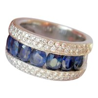 Heavy 14K White Gold 2.56 ct. Sapphire Diamond Band Ring