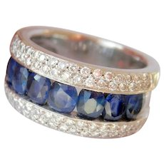 Heavy 14K White Gold 2.56 ct. Sapphire Diamond Band Ring