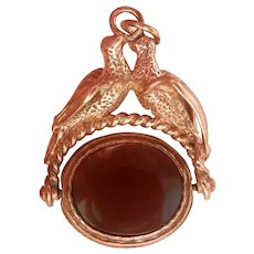 Antique 9K Bloodstone Carnelian Doves Bird Heavy Spinning Pendant Fob