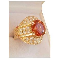 Jumbo Designer 14K Gold 4.41 Hessonite Garnet Diamond Ring