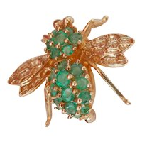 14K Gold 0.73 Ct. Emerald Fly Insect Bug Brooch