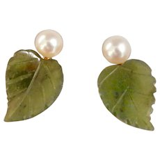 Sweet 14K Gold Pearl Nephrite Jade Earrings