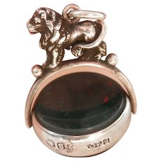 Victorian Lion Bloodstone Carnelian Swivel Silver Watch Fob or Pendant