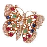 Stunning 14K Gold Multi-gemstone Butterfly Brooch Vintage Pin