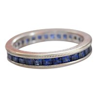 Beautiful Blue Sapphire 18K White Gold Full Eternity Ring