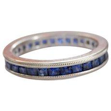 Beautiful Blue Sapphire 18K White Gold Full Eternity Ring