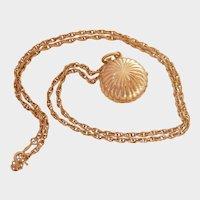 Unusual 14K Gold Concealed OEC Diamond Locket Necklace