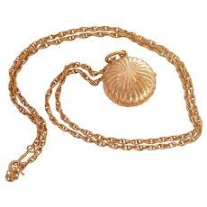 Unusual 14K Gold Hidden OEC Diamond Locket Necklace