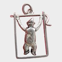 Rare Antique Sterling Silver Acrobat Charm or Pendant~Moves!