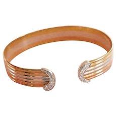 Stunning 18K Tri-Gold Diamond Cuff Bangle Bracelet