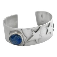 Heavy Sterling Silver Carved Chalcedony Moon Face Star Cuff Bracelet