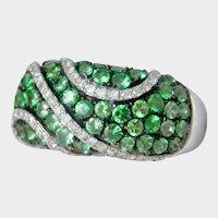 14K White Gold 1.39 ct. Tsavorite Green Garnet Diamond Ring