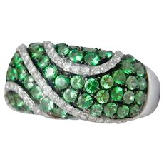 14K White Gold 1.39 ct. Tsavorite Green Garnet Diamond Ring
