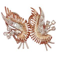 14K Gold European Vintage 0.90 ctw Diamond Omega Earrings