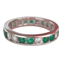 14K White Gold 0.64 ct. Emerald Diamond Band