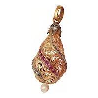Victorian 18K Gold Diamond Ruby Pearl Filigree Pendant