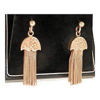 Elegant 9CT 9K Gold Ornate Victorian Tassel Earrings