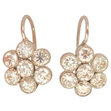 Stunning 18K Gold 1.82 Diamond Cluster Earrings~VS stones!