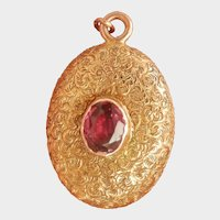 18K Victorian Garnet Mourning Locket Pendant or Charm