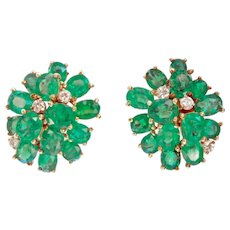 Exquisite 14K Gold 3.64 ctw Emerald Diamond Earrings
