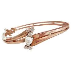 Stunning Pre-Revolution Russia 14K Rose Gold Diamond Pearl Bracelet