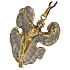 Stunning Vintage 14K Gold Plique-a-Jour Diamond Pendant