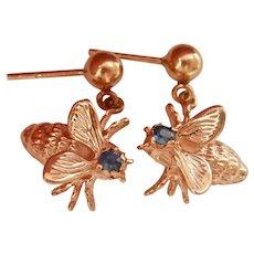 14K Gold Sapphire Vintage Fly Drop Earrings