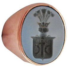 Antique French 18K Gold Chalcedony Knight's Intaglio Signet Pinky Ring