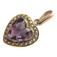 Lovely 15Ct 15K Carved Victorian Amethyst Seed Pearl Heart Pendant