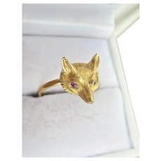 Lovely Victorian 15CT 15K Ruby Fox Head Ring
