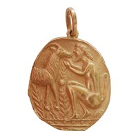 18K Gold Greek Fertility Myth Satyr Coin Pendant