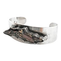 Exquisite Shakudo Mixed Metals Fish Silver Cuff Bracelet