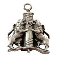 Vintage Sterling Silver Mezuzah Lion Scroll Pendant
