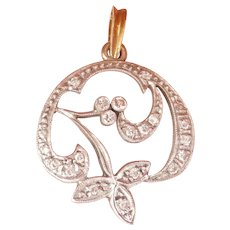 Lovely Nouveau 18K Gold Flower Pendant