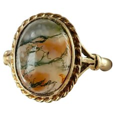Pretty 9K Gold Moss Agate Vintage Ring