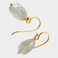 Beautiful 18K Gold Aquamarine Dangle Earrings