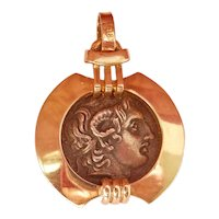 Terrific  14K Gold Silver Alexander the Great Coin Pendant
