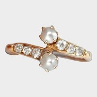 Lovely Victorian 18CT 18K Natural Pearl Diamond Bypass Ring