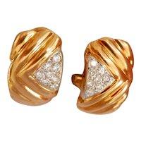 18K Gold Diamond Black, Starr and Frost Designer Omega Earrings