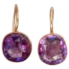 Stunning Victorian 9ct 9k Gold Cushion Cut Amethyst Earrings