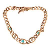 Victorian 9CT 9K Gold Turquoise Seed Pearl Link Bracelet