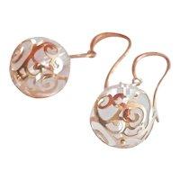 14K Gold Rock Crystal Quartz Dangle Earrings
