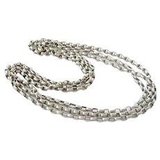 """Terrific Long 72"""" Antique Silver Belcher Chain Necklace"""