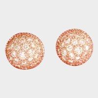 Sparkling 18K White Gold Diamond Dome Earrings