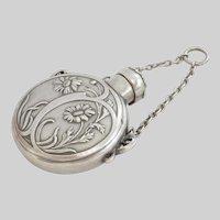 Wonderful Art Nouveau French Silver Daisy Flower Scent/Perfume Bottle