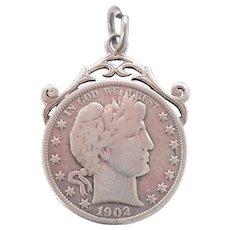 Terrific Silver U.S. Barber Half Dollar Coin Fob Pendant~1902