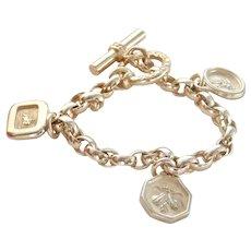 Heavy Slane & Slane Sterling Silver 3-Charm Belcher Bracelet