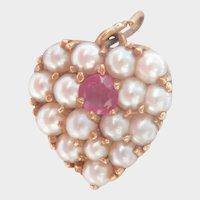 14K Gold Pink Sapphire Pearl Cluster Vintage Heart Pendant