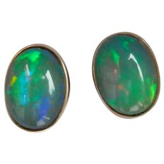 14K Gold 3.25 ctw. Natural Opal Stud Earrings