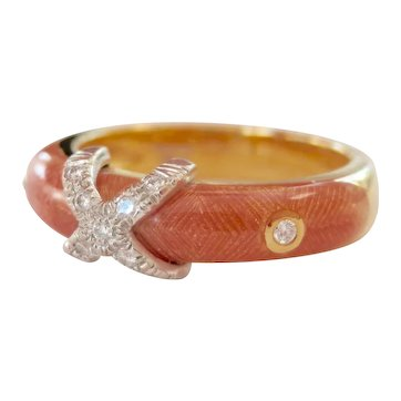 18K FABERGE Pink Enamel Diamond Ring~Victor Mayer